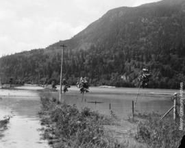 Flooded farm in front of Dewdney Mountain
