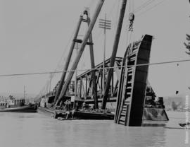 Raising span- South end Mission- Matsqui Bridge - June 28th, 1948